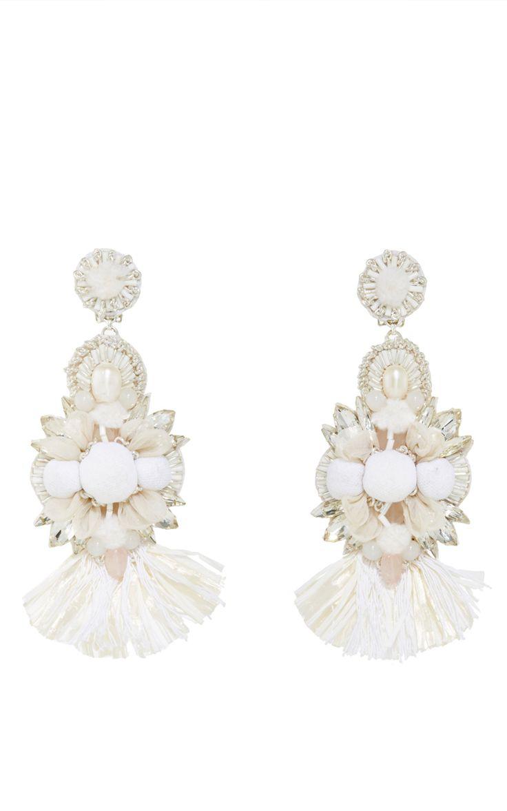 Raffia Fan Flower Earrings by RANJANA KHAN for Preorder on Moda Operandi