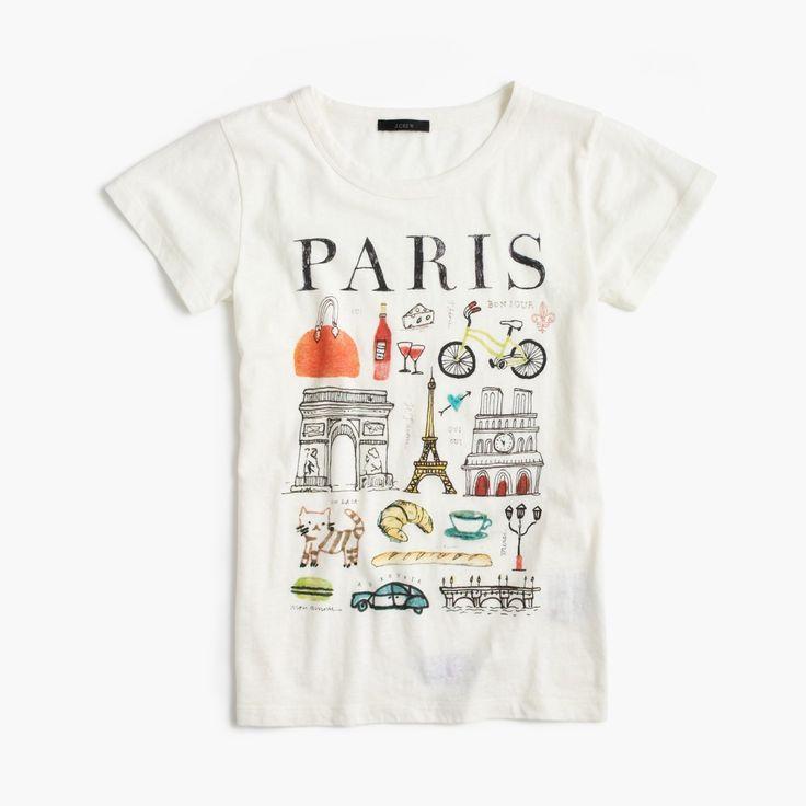 "J.Crew Gift Guide: women's ""Paris"" destination art T-shirt."