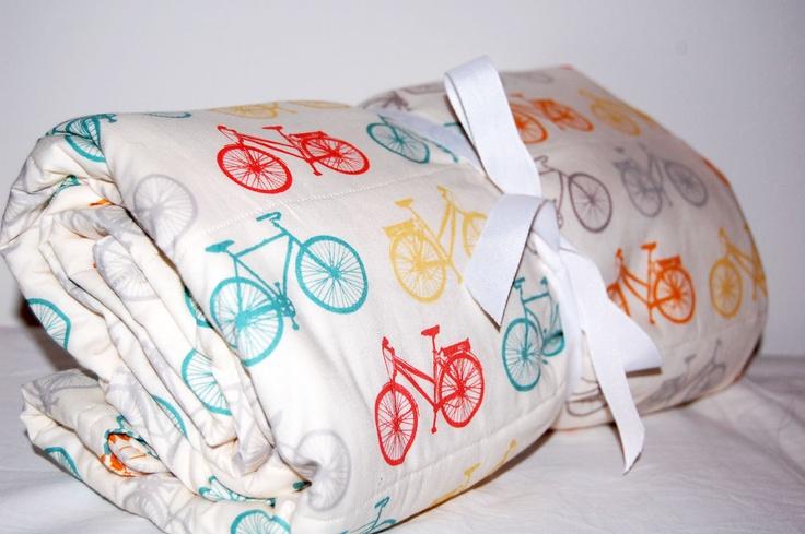 ORGANIC modern baby quilt- bikes & dots- ready to ship
