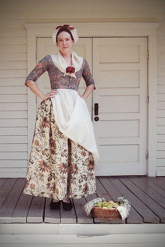 770s middle class costume with mixed chintz.  The print that inspired this recreated outfit can be seen in my 18th century album for engravings etc.   http://www.festiveattyre.com/2012/08/dutch-print-madness.html