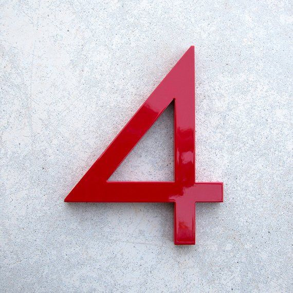 Modern House Number Aluminum Modern Font Number Four 4 In Red Etsy In 2020 Modern House Number House Numbers Modern Fonts