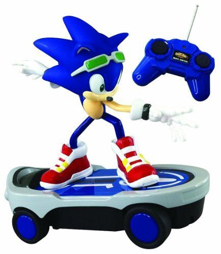 """Sonic the Hedgehog ~8"""" Sonic Free Riders Remote Controlled Racer by NKOK. $39.99. For age 6+. R/C racer features: Forward, reverse, left and right turns, and stop. From the hit Sega video games, here comes the radio controlled racer featuring characters from the Sonic Free Riders series. This series is made up of 2 items (EACH SOLD SEPARATELY): Jet the Hawk, Sonic the Hedgehog. Requires 6 """"AA"""" batteries; Batteries NOT INCLUDED. From the hit Sega video games, here comes th..."""