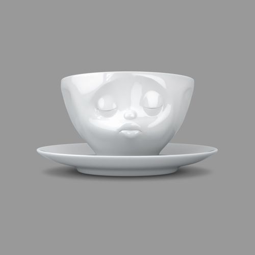 """Tableware : Tassen """"Kissing"""" White Coffee Cup and Saucer"""