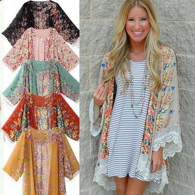 Feitong 2019 Fashion Kimono Cardigan Print Floral Sexy Beachwear Women Blouses Retro Chiffon Long Blusa Manga Comprida Camiseta Blouses & Shirts