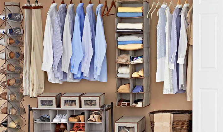 5 tips for organizing your closet:  *if you haven't used it, toss it *organize and group clothes by season *go vertical *group clothes by types *neatness counts