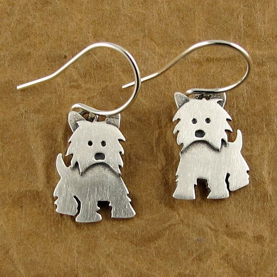 These lovable little Westies are made of sterling silver, with a brushed satin finish. They measure about 1/2 tall, which means these are TINY