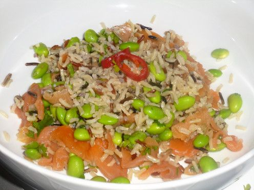 Salmon, Wild Rice and Soya Bean Salad with a Honey, Soy, Chilli and Lime Dressing Recipe