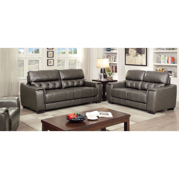 Furniture Of America Hacienda Contemporary 2-piece Tufted Dark Grey Sofa  Set (Dark Grey