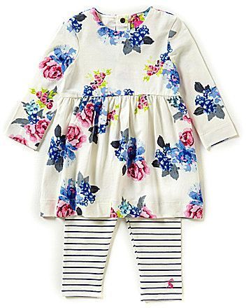 9b4506f20 Joules Baby Girls Newborn-18 Months Long Sleeve Floral Dress and Leggings  Set