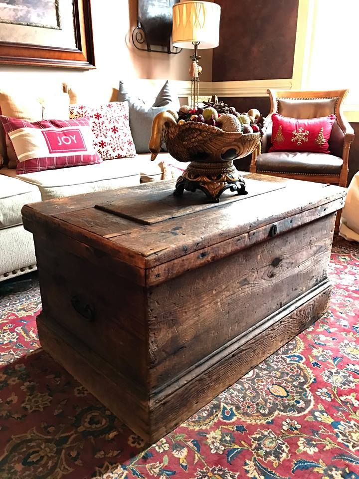 antique wood trunk or chest used as a coffee table in a on stunning wooden metal coffee table id=32642