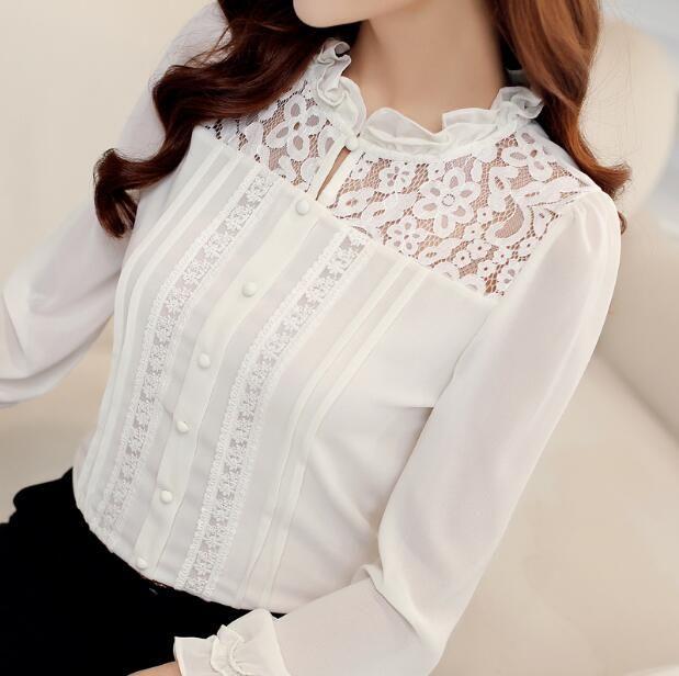 Осень-Весна Леди Новый Шифон Рубашки Моды Кружева Блузка С Длинным Рукавом Повседневная Женщины Белая Рубашка blusas