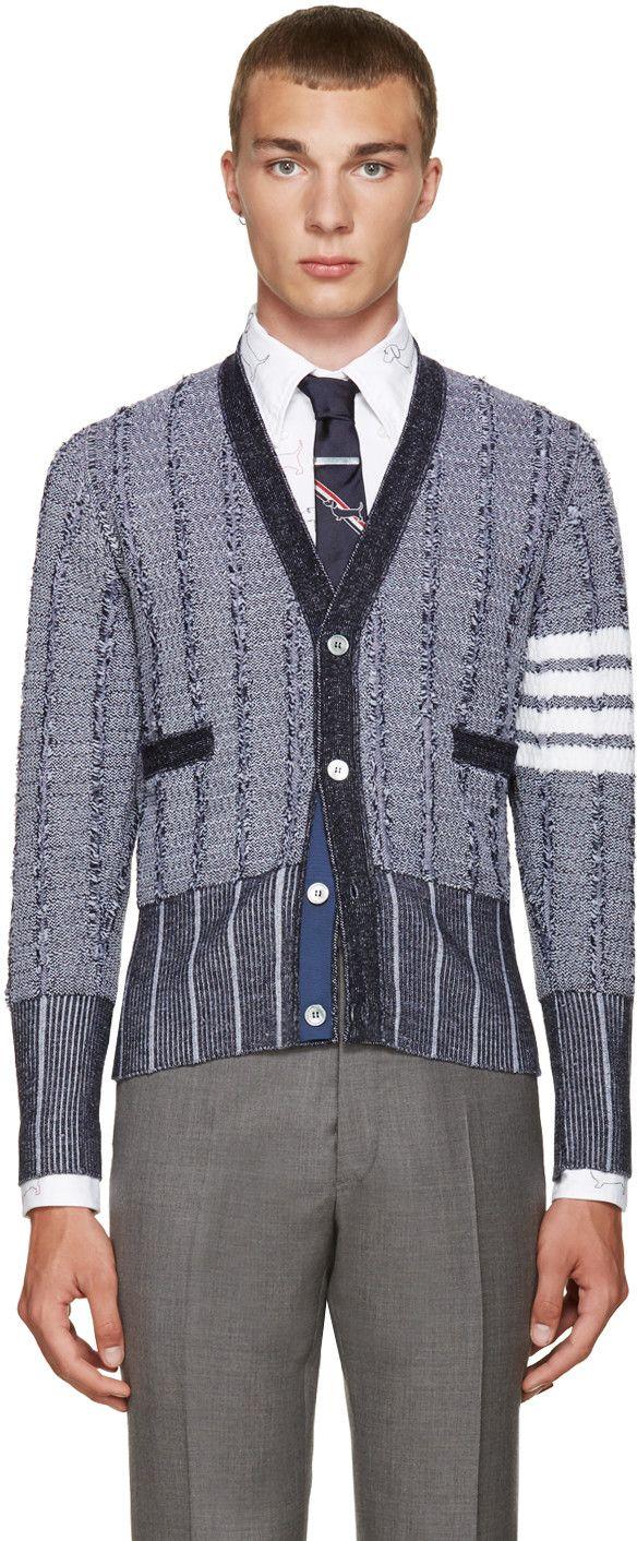 Thom Browne - Navy Wool Cardigan