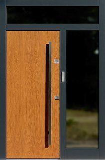 Drzwi zewnętrzne z dostawką boczną i naświetlem górnym wzór 500C w kolorze dąb jasny + antracyt