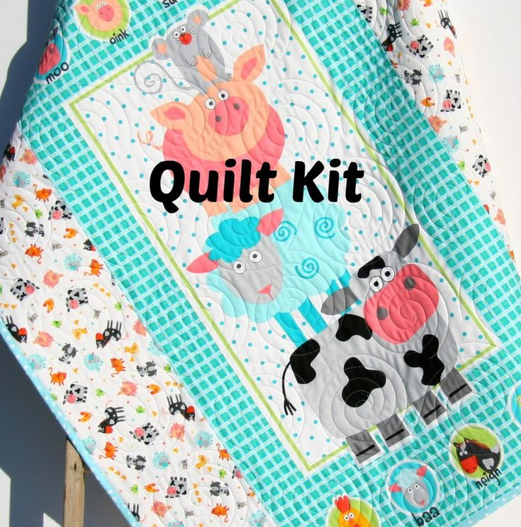 Farm Aminals Quilt Kit, Barnyard Animals Bedding, Quilting Ideas, Funny Farm Blanket, Boy or Girl Nursery