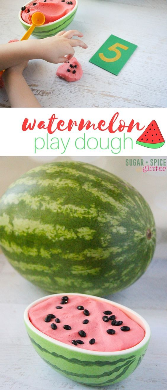 A fun summer sensory activity, this watermelon play dough math set-up is super simple and kids can play with the play dough in so many different ways.