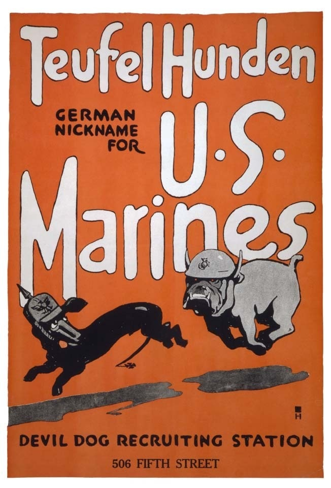 WW2 U S Marine Corps USMC Recruitment Wall Poster Art print Teufel Hunden | eBay