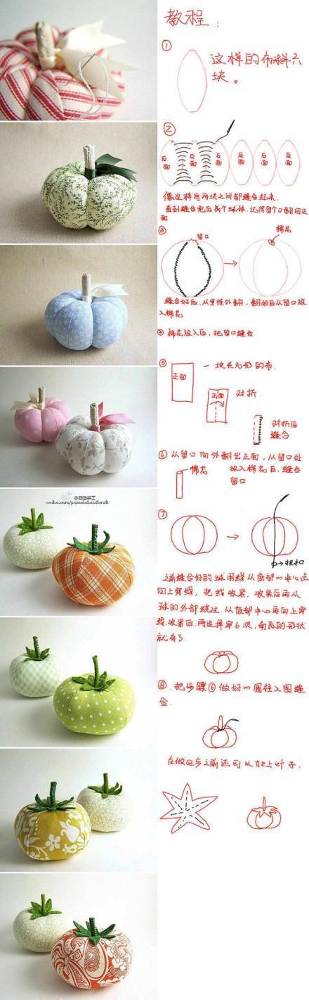 ARTE COM QUIANE - Paps,Moldes,E.V.A,Feltro,Costuras,Fofuchas 3D: Aprenda fazer:Tomate e Abóbora de tecido