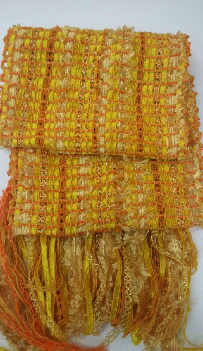 Echarpe de linha e fitas laranja e amarelo tecida em tear manual - Peça única.