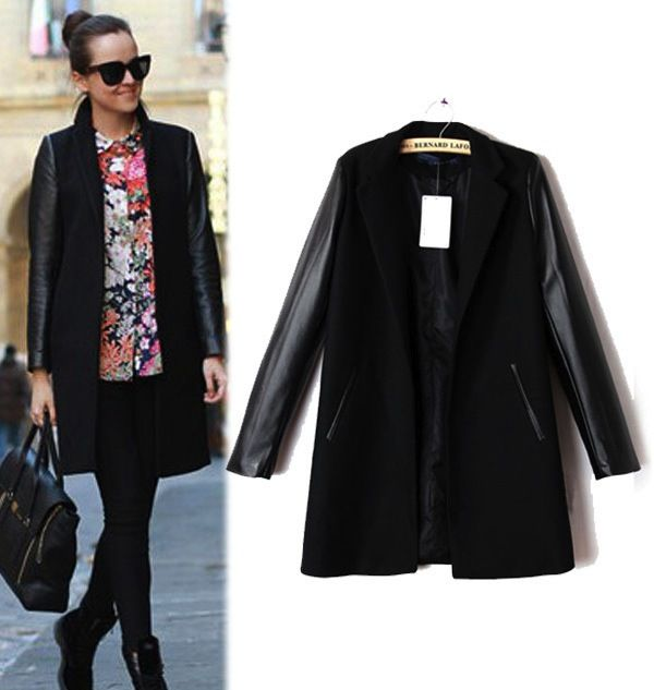 Pleather Sleeve Coat - $52.95 with FREE shipping