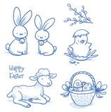 Vektor: Cute easter icon and animal pet collection, with easter egg in nest, pussy willow branch, easter rabbit, lamb, chicks and flower. Hand drawn vector illustration.