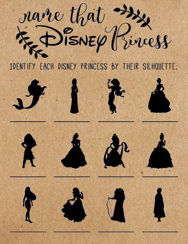 Name That Disney Princess Bridal Shower Game . Disney Bridal Shower Games . Wedding Shower Game . Di