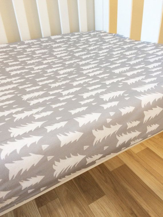 Grey nordic forest - modern Fitted Cot Sheet, Crib Sheet, Nursery Fitted sheet, gray tree