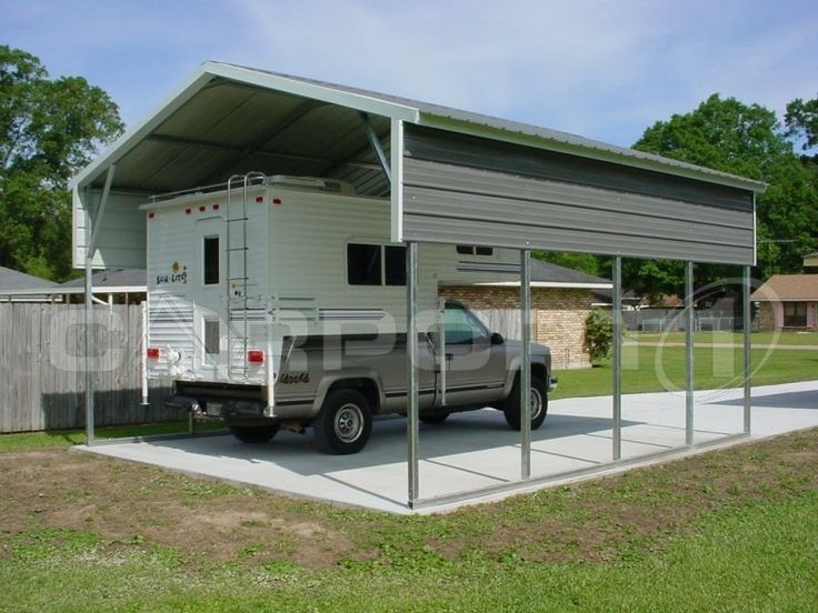 Our metal carports are affordable and can be easily customized for use as RV carports and motorhome carports. We start with a base unit at the proper width, determine the length of your RV or motorhome, then we determine the height, allowing for any extended equipment such as air conditioning units or antennas, to create the exact steel RV carport to meet your specifications. With the manufacturer's huge selection of components, we can customize motorhome carports for almost any application!
