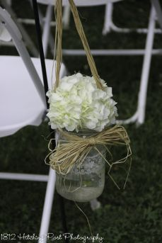 White Hydrangea In Lace Trimmed Mason Jar