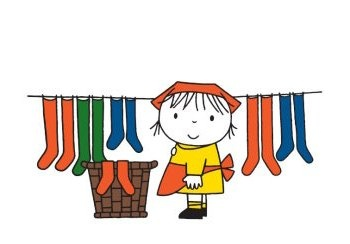 Nothing better than your wash hanging freshly on a string - (by Dick Bruna)