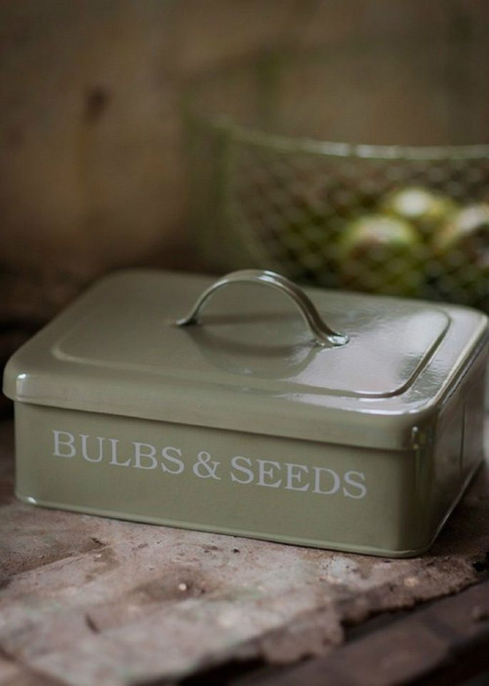 Large Bulb Amp Seed Storage Box Metal Container Gardeners