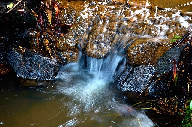 A fascinating site - waterfall over rocks and moss - a study in ecology.