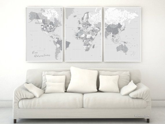 Black friday sale, boyfriend gift, gift for him, travel lover gift, highly detailed world map poster, map with cities, gray map - map151 012
