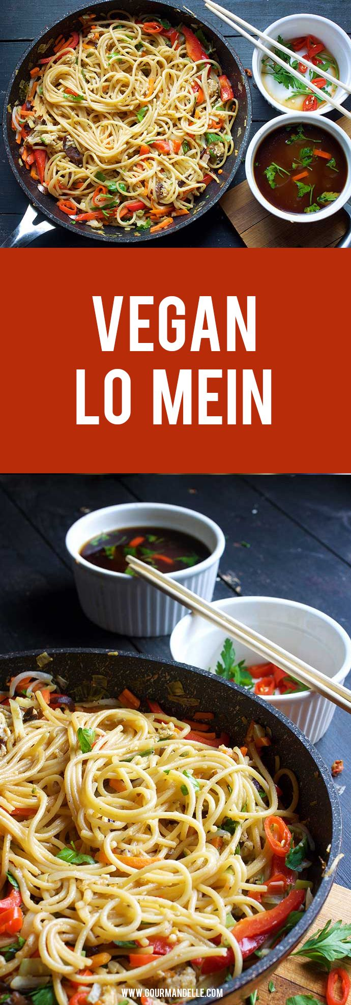 Make this vegan lo mein / vegan chow mein recipe in under 15 minutes and enjoy a delicious, healthy and protein-packed stir-fry for lunch or dinner! #lomein #chowmein #chinese