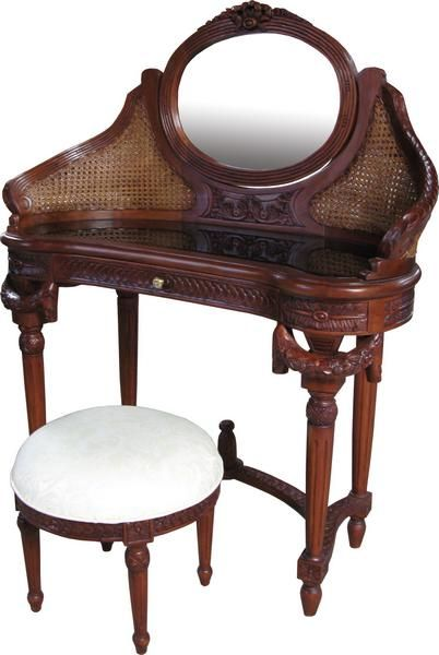 French Curved Dressing Table With Rattan By Lock Stock And