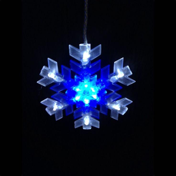 8pc Connectable LED Snowflake String - Blue/White - Christmas Elves