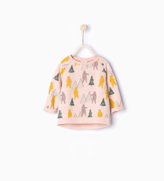 Image 1 of Bear print sweatshirt from Zara
