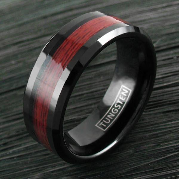 BEAUTIFUL MODERN BLACK TUNGSTEN RING WITH DARK BROWN WOOD GRAIN INLAY.