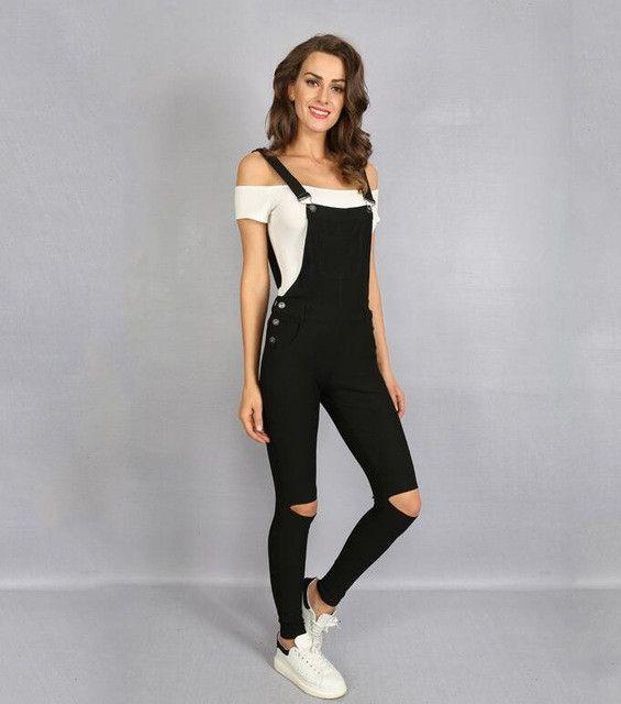 2017 Summer Women Overalls Black Bodysuit Jeans Jumpsuit Long-Pants Hole Pocket Sleeveless Pencil Pants Rpmpers Femme P0912
