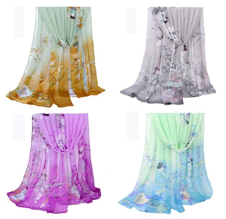 Women's Pretty Floral Print Soft Wrap Shawl Chiffon Scarf Long Silk Stole