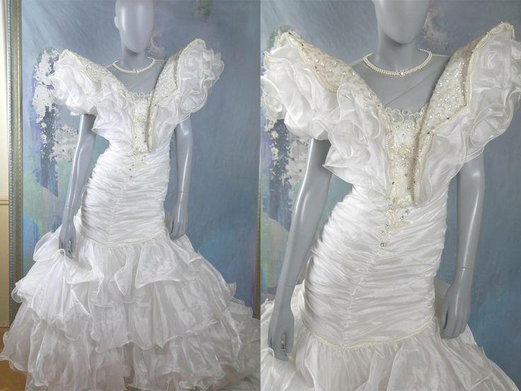 1980s Wedding Dress, European Vintage White Bridal Gown Embellished w Pearls, Sequins, & Diamanté Jewels: Size 6 US, 10 UK