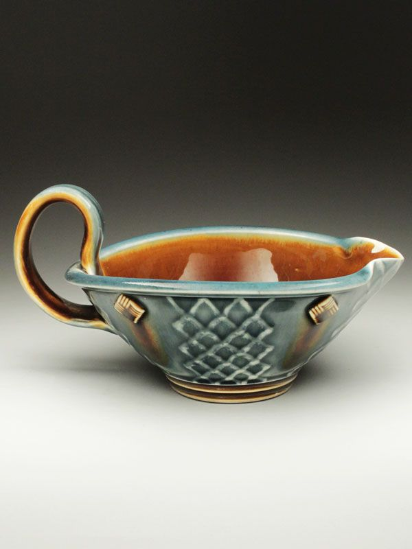 Ryan Greenheck Blue Brown Gravy Boat at MudFire Gallery
