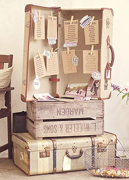 Rustic vintage wedding idea: use old travel trunks and wooden crates as table for seating charts