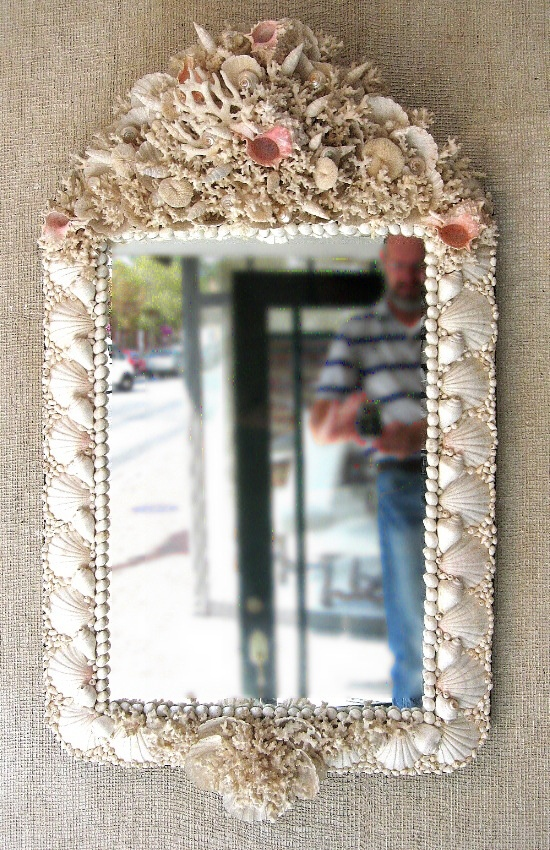 Glamorous Shell Mirror - Finely Detailed with symmetrical placement of shells.