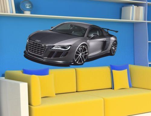 WALL-STICKER-CAR-Sport-Racing-Car-AUDI-R8-Cars-Sticker-for-Kids-Room