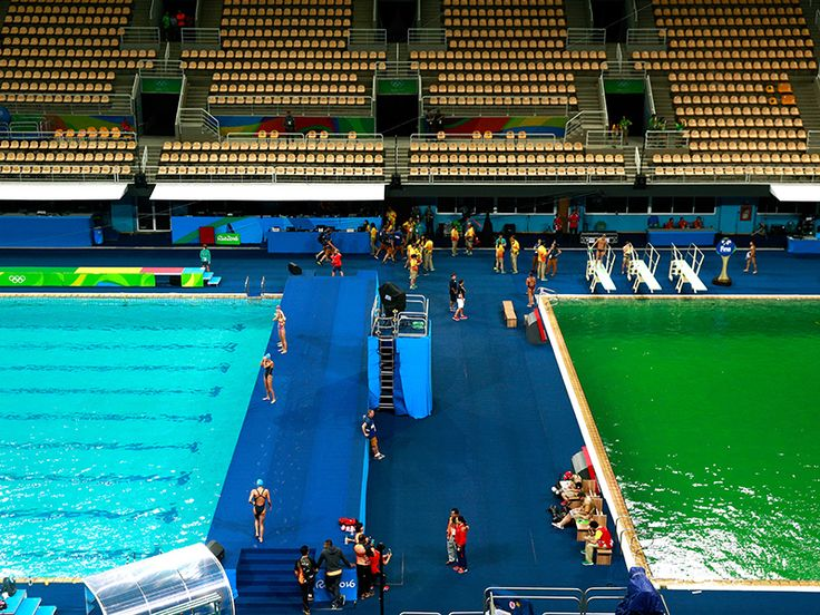 Water at Rio's Olympic Diving Pool Has Turned Murky Green Overnight…