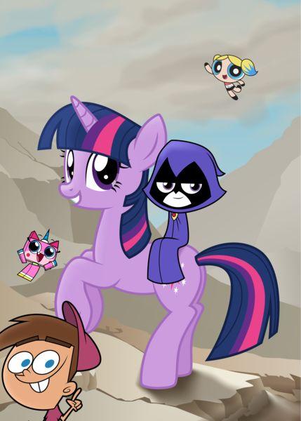 #1654875 - absurd res, artist:amarthgul, bubbles (powerpuff girls), crossover, humans riding ponies, lego, napoleon crossing the alps, pony, raven (teen titans), rearing, riding, safe, tara strong, teen titans go, timmy turner, twilight sparkle, unicorn, unicorn twilight, unikitty, voice actor joke - Derpibooru - My Little Pony: Friendship is Magic Imageboard