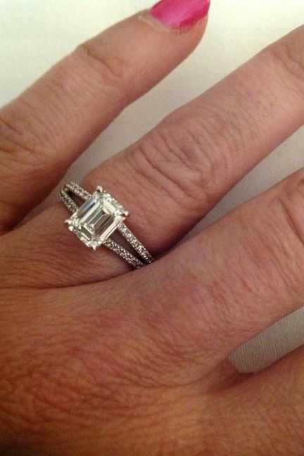 Real Ritani Engagements - Emerald Cut Diamond 'V' Split Shank French-Set Engagement Ring. Congratulations, Kimberly!