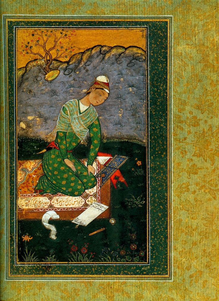 Portrait of a young writer by Mir Sayyid Ali, Los Angeles County Museum of Art, 1550