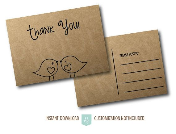 Love Bird Thank You Cards- Postcard Thank You Card- Rustic Style-Instant Download, Printable File- Customization NOT Included. Click through to find matching games, favors, thank you cards, inserts, decor, and more. Or shop our 1000+ designs for all of life's journeys. Weddings, birthdays, new babies, anniversaries, and more. Only at Aesthetic Journeys