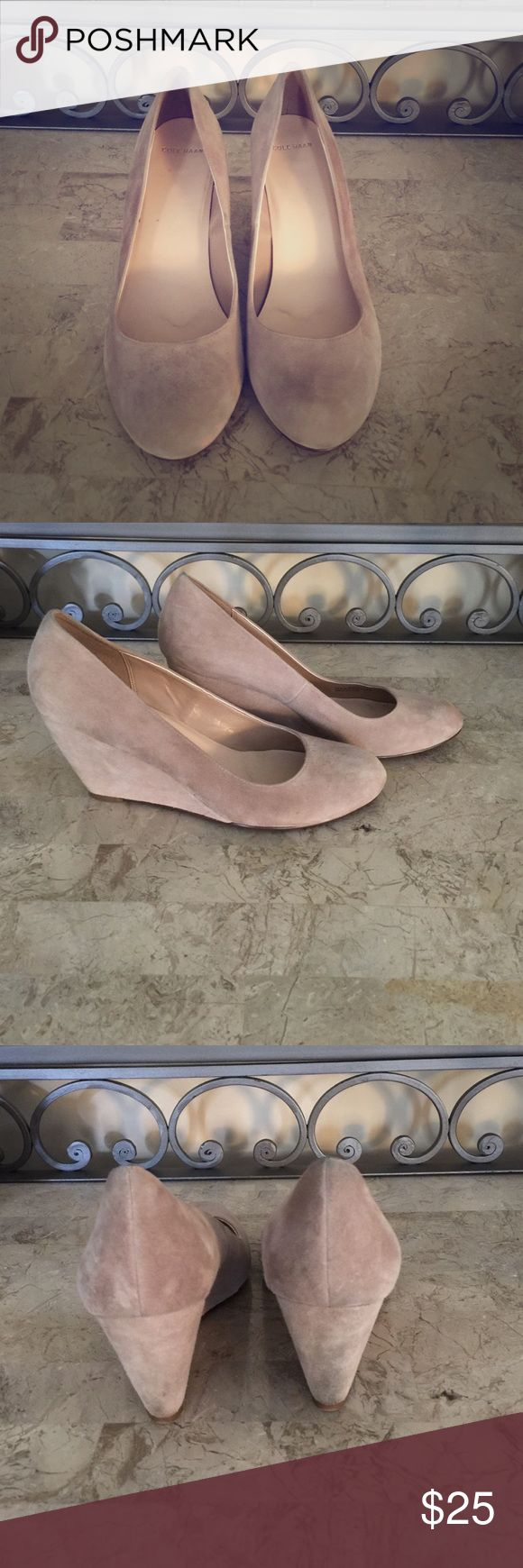 Cole Haan suede wedge heel platforms taupe Gently used. Purchased from Cole Haan outlet maybe 6 months ago. Few water spots on front and denim color rubbed off on back heels. Only worn a few times. Very cute shoes! Cole Haan Shoes Wedges